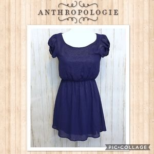 ANTHRO EVERLY Navy Blue Asymmetric Shimmer Dress